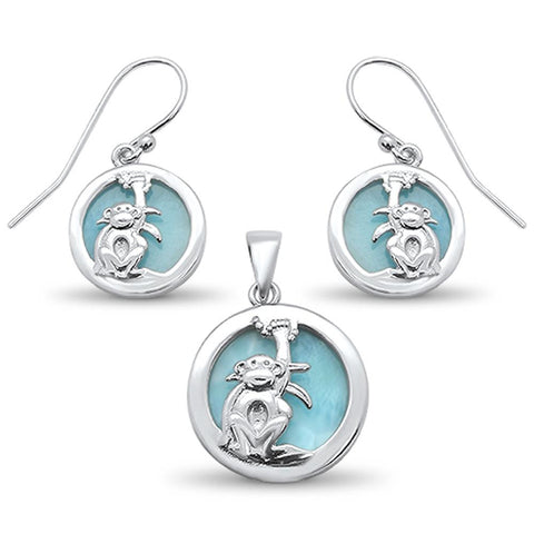 Natural Round Larimar with Monkey Design Earring & Pendant .925 Sterling Silver Set
