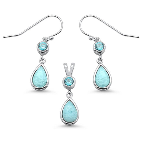 Natural Larimar Pear Shape & Aquamarine Dangle Earring & Pendant .925 Sterling Silver Set