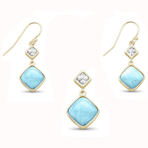 Yellow Gold Plated Natural Princess Cut Larimar & Cubic Zirconia Dangling  .925 Sterling Silver Pendant & Earring Set