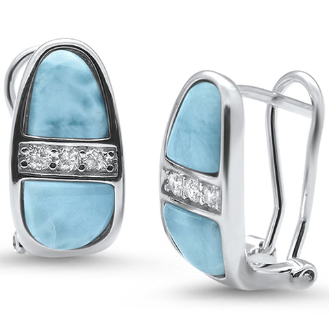 Natural Larimar & Cz Latch Back .925 Sterling Silver Earrings