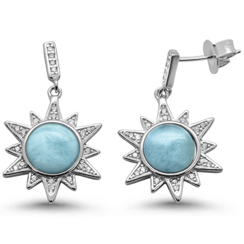 Natural Larimar Ocean Surf Celestial Sun .925 Sterling Silver Earrings