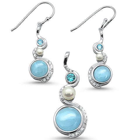 Natural Larimar,Blue Topaz, Pearl & Cz Elegand Design Earring & Pendant .925 Sterling Silver Set