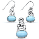 Natural Larimar Oval Shape Spiral Dangle Earring & Pendant .925 Sterling Silver Set