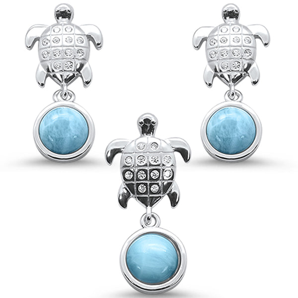 Natural Larimar & Cz Turtle Earring & Pendant .925 Sterling Silver Set