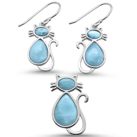 Natural Larimar Cat Design Earring & Pendant .925 Sterling Silver Set
