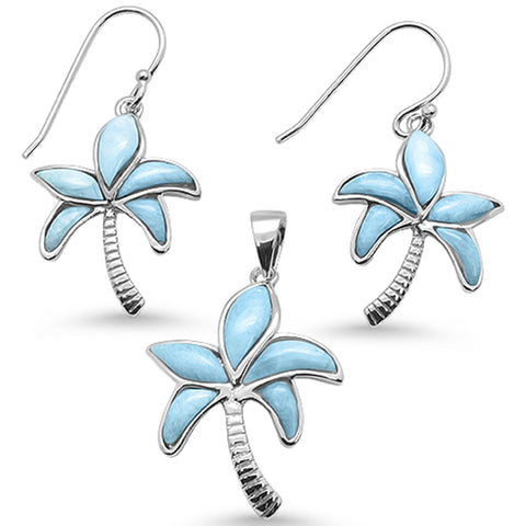 Natural Larimar Palm Tree Earring & Pendant .925 Sterling Silver Set