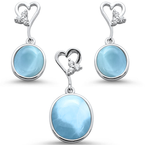 Oval Natural Larimar & Cz with Heart Shape Dangle Earring & Pendant .925 Sterling Silver Set