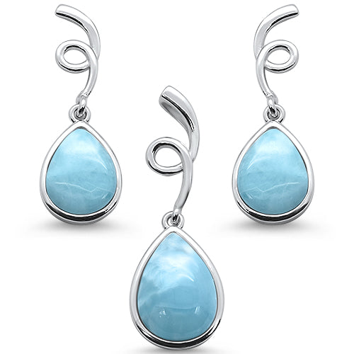 Natural Larimar Pear Shape Spiral Dangle Earring & Pendant .925 Sterling Silver Set