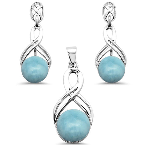 Round Natural Larimar Infinity Drop Dangle Earring & Pendant .925 Sterling Silver Set