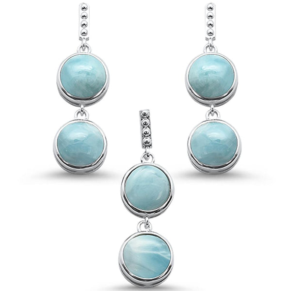 Round Larimar Drop Dangle .925 Sterling Silver Earring & Pendant Set