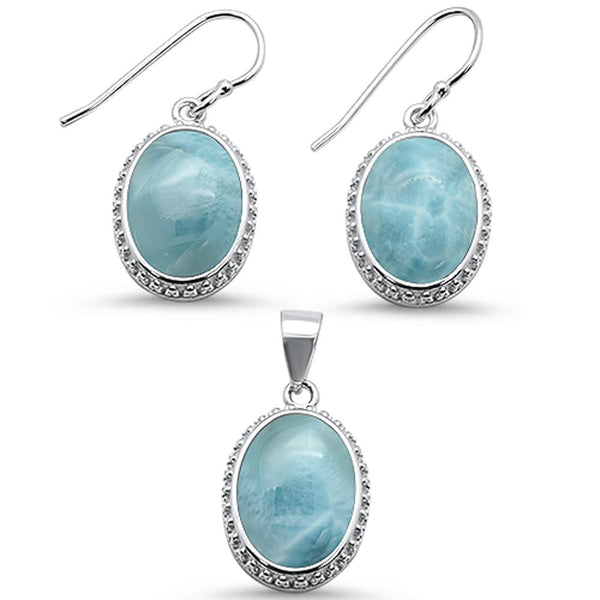 Oval Elegant Natural Larimar .925 Sterling Silver Earring & Pendant Set