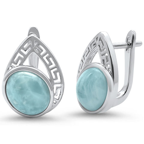 Oval Natural Larimar Pear design .925 Sterling Silver Earrings