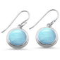 Round Natural Larimar .925 Sterling Silver Earrings