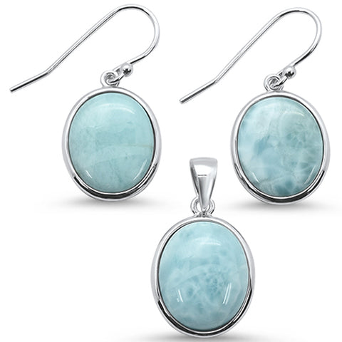 Oval Natural Larimar .925 Sterling Silver Earring & Pendant Set