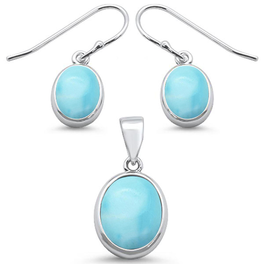 Oval Natural Larimar Design .925 Sterling Silver Pendant & Earring Set