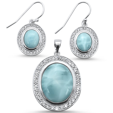 Natural Larimar & CZ Oval 925 Sterling Silver Earring & Pendant Set