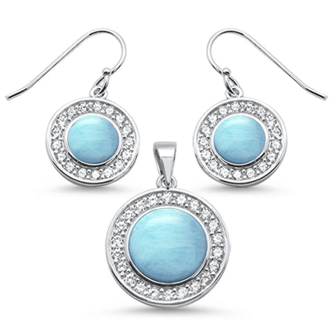 Round Natural Larimar & Cubic Zirconia .925 Sterling Silver Pendant & Earring Set