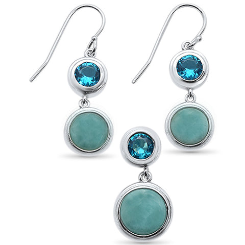 Round Natural Larimar & Blue TopAz .925 Sterling Silver Earrings & Pendant Set