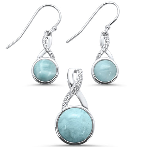 Round Natural Larimar & Cubic Zirconia  .925 Sterling Silver Earring & Pendant Set