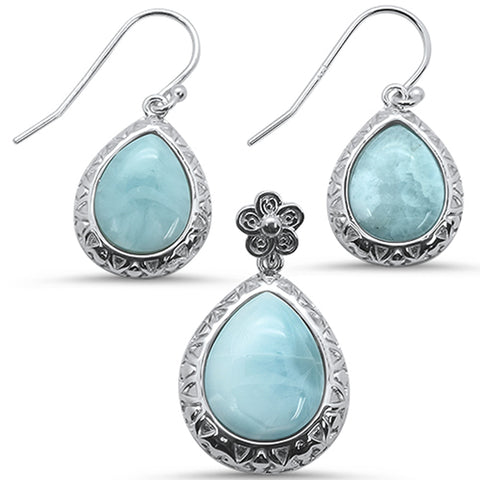Round Natural Larimar Flower .925 Sterling Silver Earring & Pendant Set