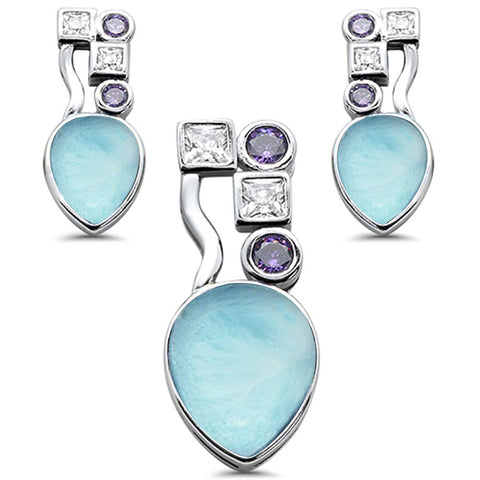 Natural Larimar Amethyst & Cubic Zirconia .925 Sterling Silver Pendant & Earring Set