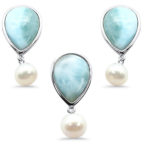 Natural Larimar & Mother Pearl .925 Sterling Silver Pendant & Earring Set