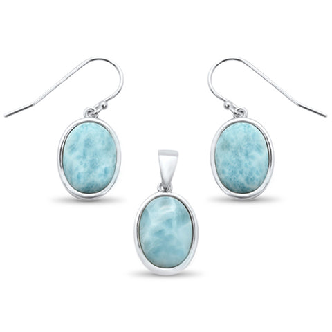 Oval Natural Larimar .925 Sterling Silver Pendant & Earrings Set