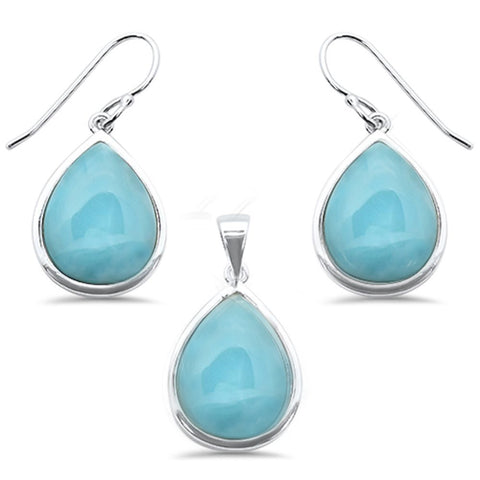 Pear Natural Larimar .925 Sterling Silver Pendant & Earring Set