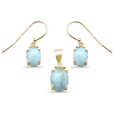 Yellow Gold Plated Oval Natural Larimar .925 Sterling Silver Pendant & Earring Set