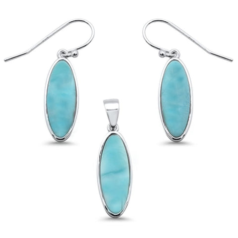 New Natural Larimar .925 Sterling Silver Pendant & Earring Set