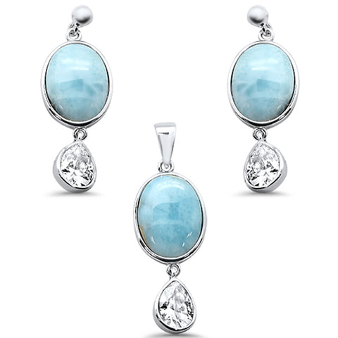 Oval Natural Larimar & Pear Amethyst .925 Sterling Silver Pendant & Earring Set