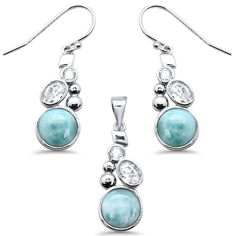 Round Natural Larimar & Cz .925 Sterling Silver Pendant & Earring Set