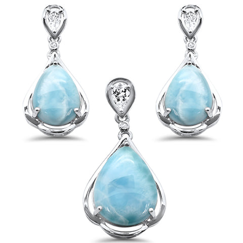 Pear Shape Natural Larimar & CZ .925 Sterling Silver Pendant & Earring Set
