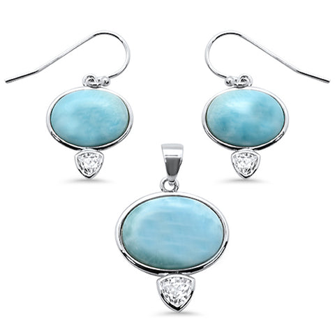 Natural Larimar & Cubic Zirconia .925 Sterling Silver Pendant & Earrings Set