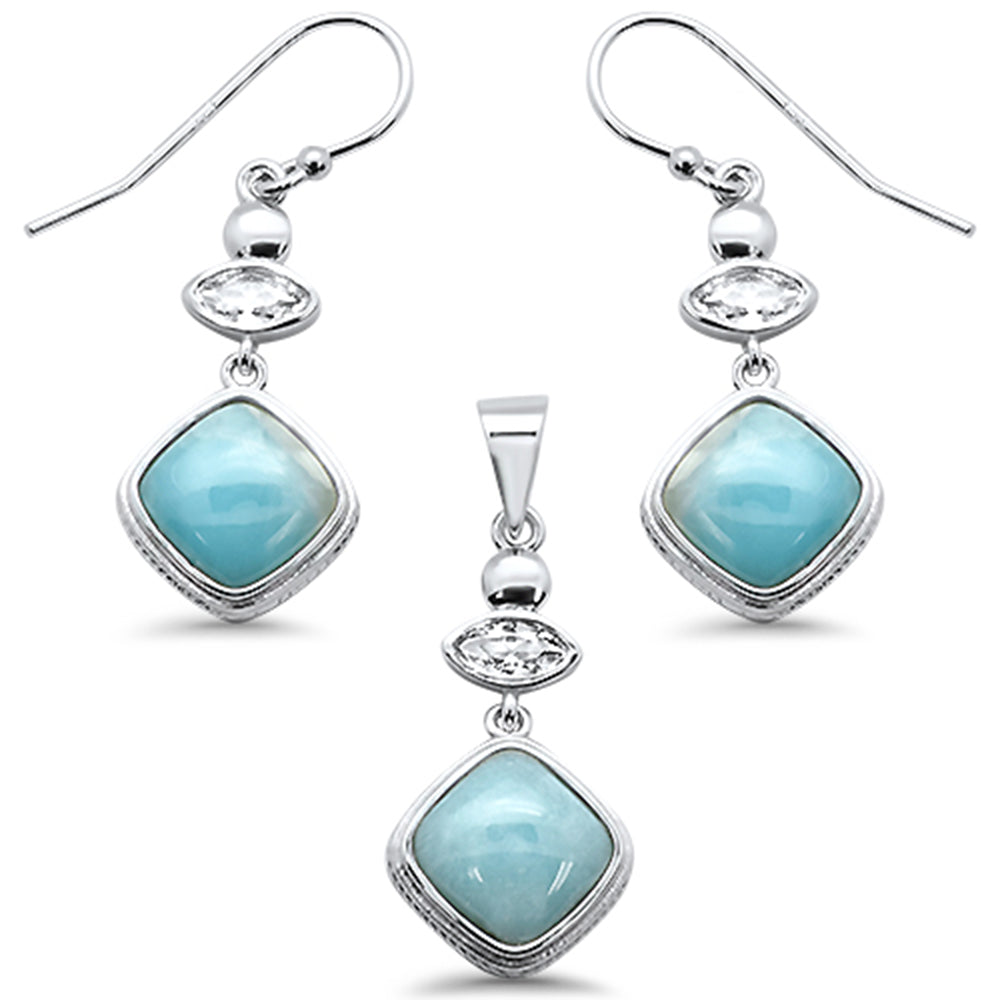 Cushion Natural Larimar & CZ .925 Sterling Silver Pendant & Earring Set
