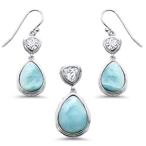 Pear Shape Natural Larimar & Cubic Zirconia .925 Sterling Silver Pendant & Earrings Set