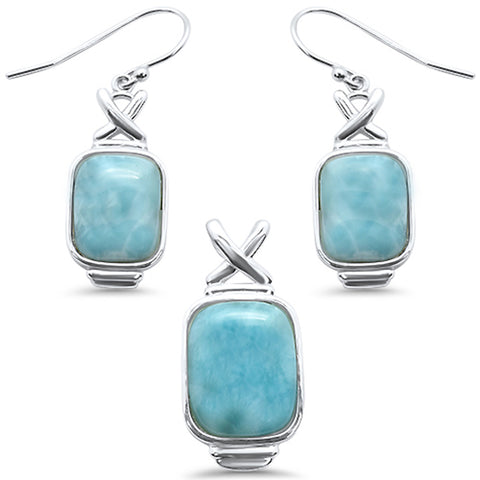 Cushion Cut Natural Larimar .925 Sterling Silver Pendant & Earrings Set