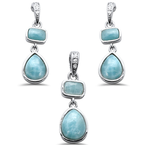 New Natural Larimar & Cz .925 Sterling Silver Pendant & Earring Set