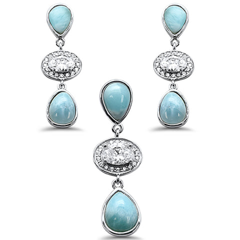 Pear Shape Natural Larimar & Oval CZ .925 Sterling Silver Pendant & Earring Set