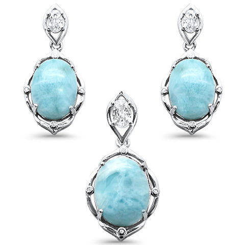 Natural Larimar & Cubic Zirconia Oval Shape .925 Sterling Silver Pendant & Earrings Set