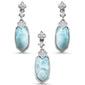 Natural Larimar & Cz .925 Sterling Silver Pendant & Earring Set