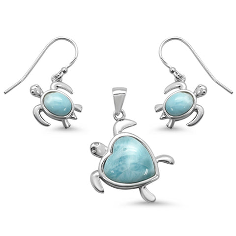Natural Larimar Heart & Turtle .925 Sterling Silver Pendant & Earring Set