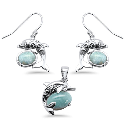 Oval Natural Larimar Dolphin .925 Sterling Silver Pendant & Earring Set