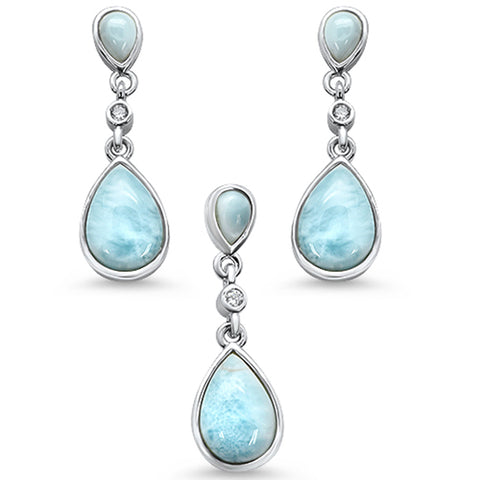 Pear Shape Natural Larimar & Round Cz .925 Sterling Silver Pendant & Earring Set
