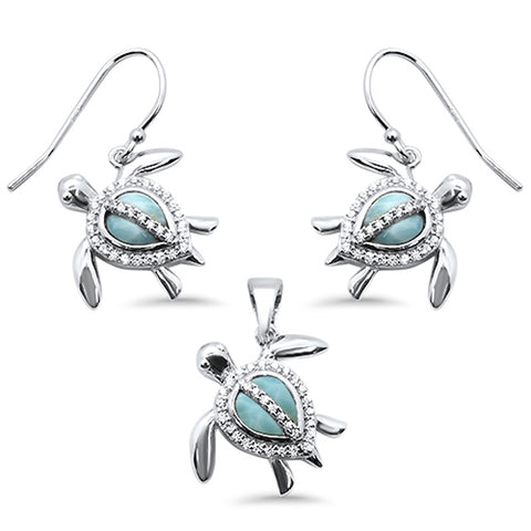 Natural Larimar & Cubic Zirconia Turtle .925 Sterling Silver Pendant & Earrings Set