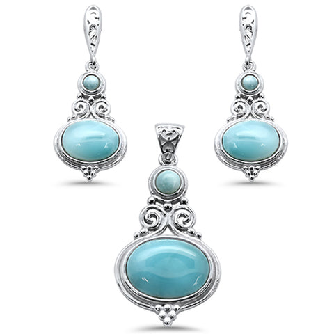 Multi Shape Natural Larimar .925 Sterling Silver Pendant & Earring Set