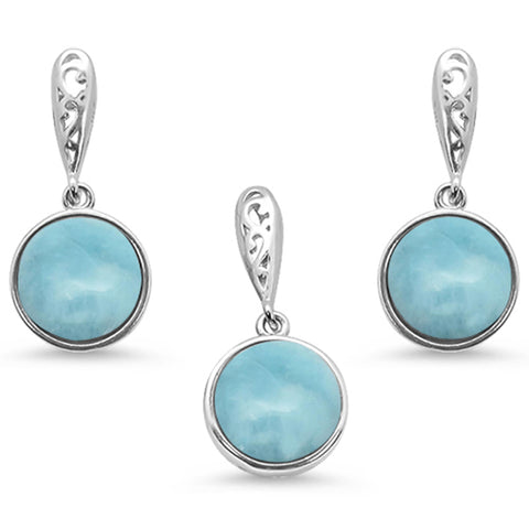 Round Natural Larimar .925 Sterling Silver Pendant & Earring Set
