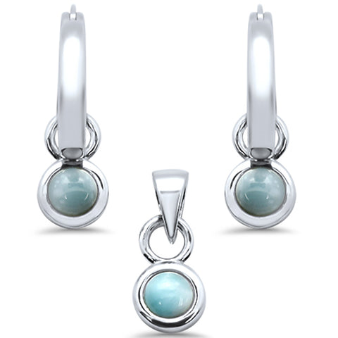 Natural Larimar Dangling .925 Sterling Silver Pendant & Earring Set