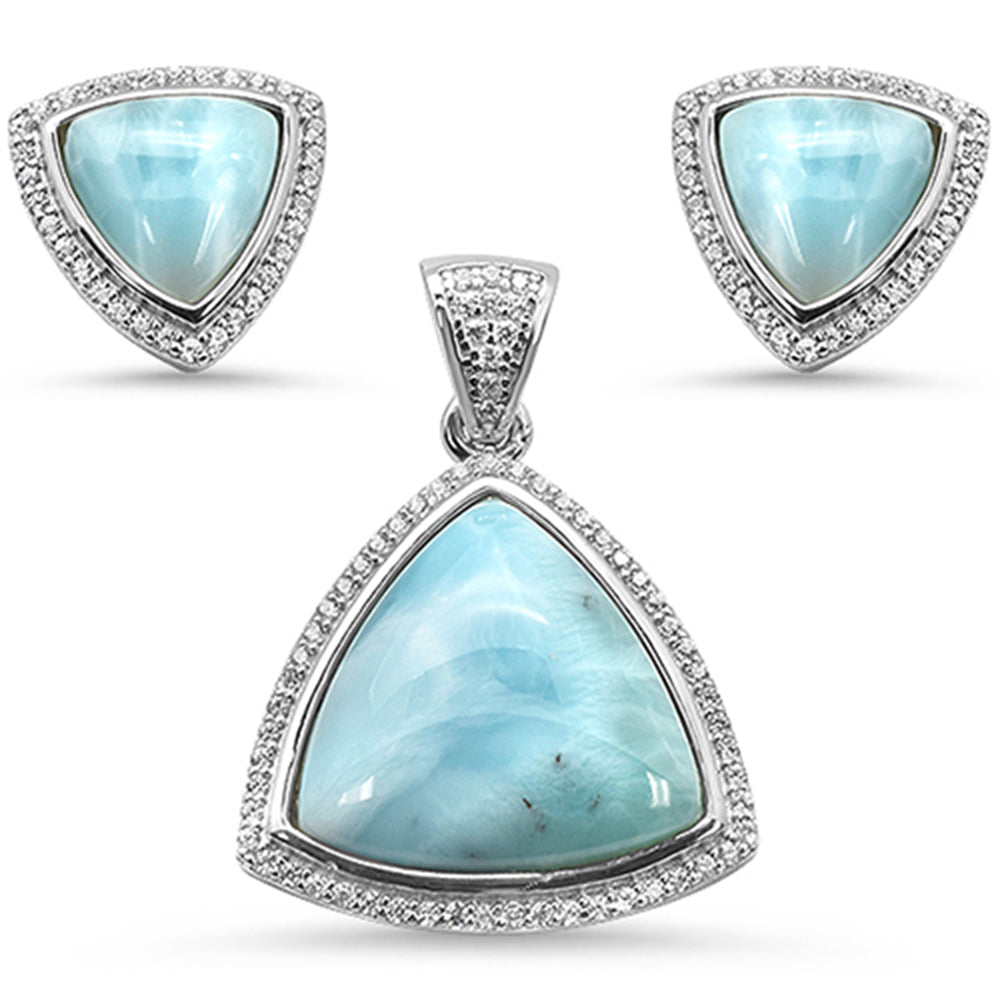 Natural Larimar & Cz Trillion Shape .925 Sterling Silver Pendant & Earring Set