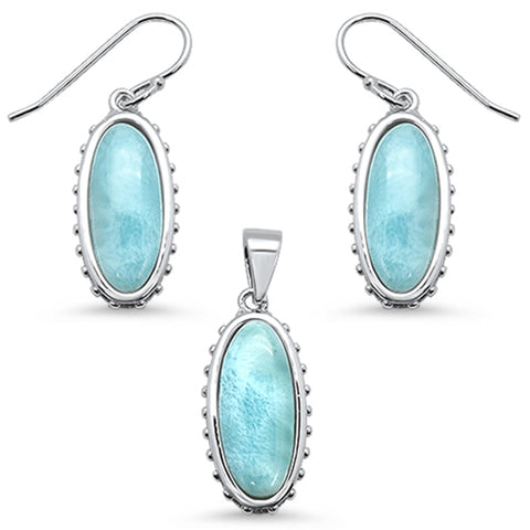 New Oval Natural Larimar .925 Sterling Silver Pendant & Earring Set